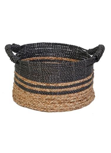 Kanca Ev Mendong Hasır, Siyah-Natürel Örme Sepet, Küçük Siyah